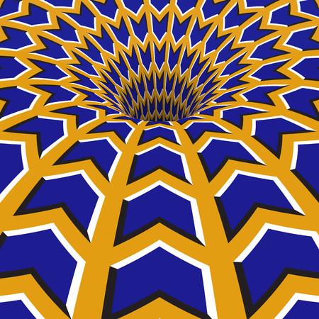 Blue arrows hole. Optical motion illusion illustration. Illustration