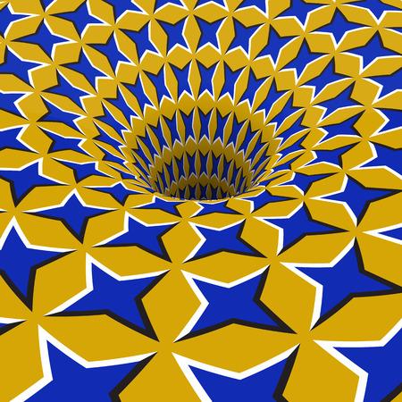 Blue stars hole. Optical motion illusion illustration.