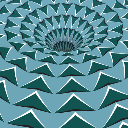 Green arrows hole. Optical motion illusion illustration.