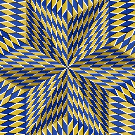 Geruite geelblauwe zespuntige ster. Optische beweging illusie abstracte achtergrond.