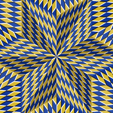 Checkered yellow blue six pointed star. Optical motion illusion abstract background. Illustration