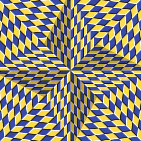 Geruite geelblauwe vierpuntige ster. Optische beweging illusie abstracte achtergrond. Stock Illustratie