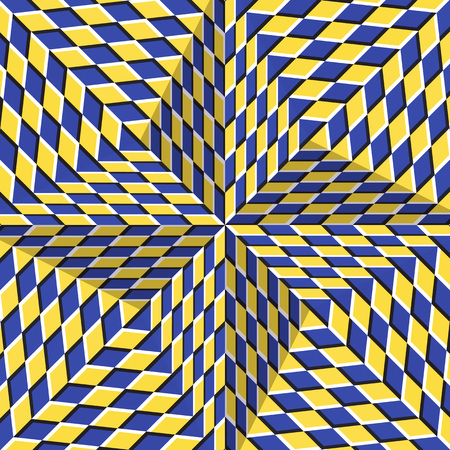 Checkered yellow blue four pointed star. Optical motion illusion abstract background.