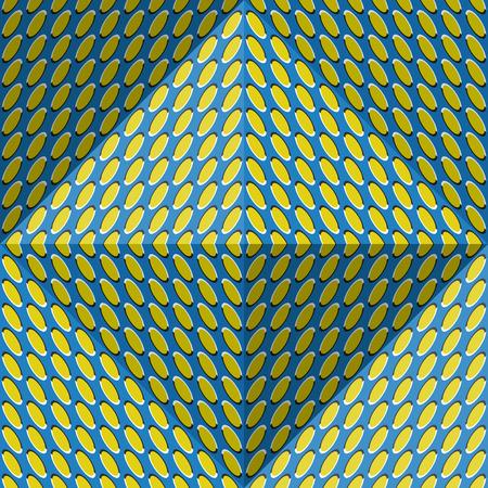 Optische beweging illusie abstracte achtergrond. Ellips patroon naadloos patroon in tetraëdrische piramide vorm.