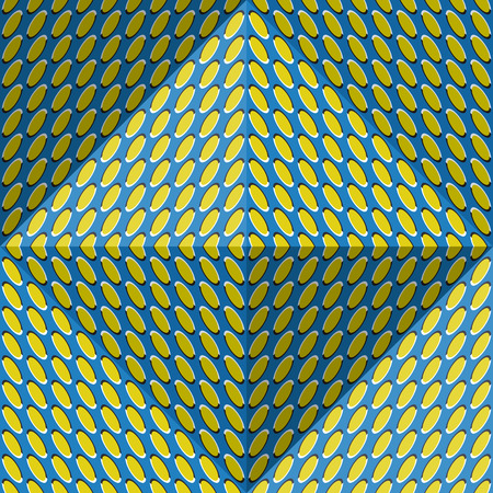 Optical motion illusion abstract background. Ellipse patterned seamless pattern in tetrahedral pyramid form. Illustration