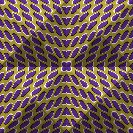 Optical motion illusion abstract background. Spotted seamless pattern in tetrahedral pyramids form. Illustration