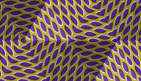 Optical motion illusion abstract background. Spotted seamless pattern in hexagonal pyramids form. Illustration