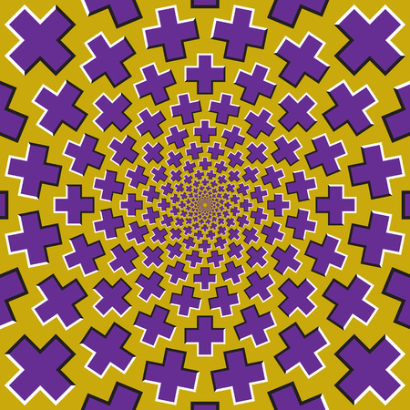 Optical motion illusion background. Purple crosses fly apart circularly from the center on yellow background. Stock Illustratie