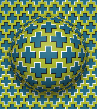 Crosses patterned ball rolling along the same surface. Abstract vector optical illusion illustration. Motion background and tile of seamless wallpaper. Vectores