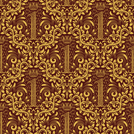Damask seamless pattern repeating background. Golden maroon floral ornament number one letter and crown in baroque style. Antique golden repeatable wallpaper.
