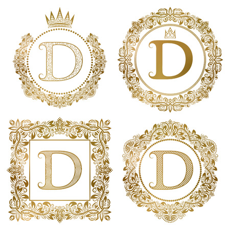 Golden letter D vintage monograms set. Heraldic coats of arms, round and square frames.