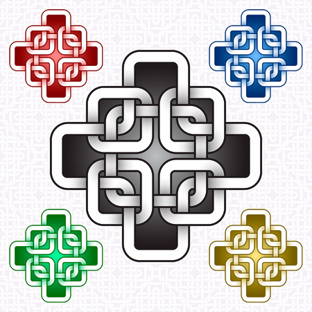 Cruciform icon template in Celtic knots style. Stylish tattoo symbol. Silver ornament for jewelry design and samples of other colors.