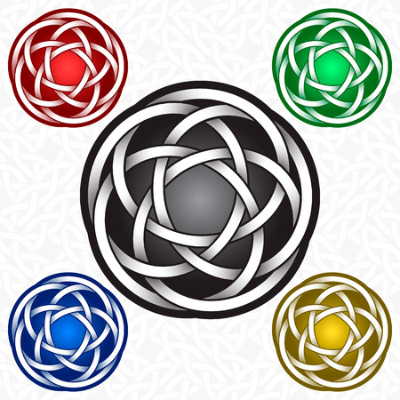 Circular icon template in Celtic knots style. Tribal tattoo symbol. Silver ornament for jewelry design and samples of other colors.