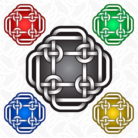 Cruciform icon template in Celtic knots style. Tribal tattoo symbol. Silver ornament for jewelry design and samples of other colors. Vettoriali