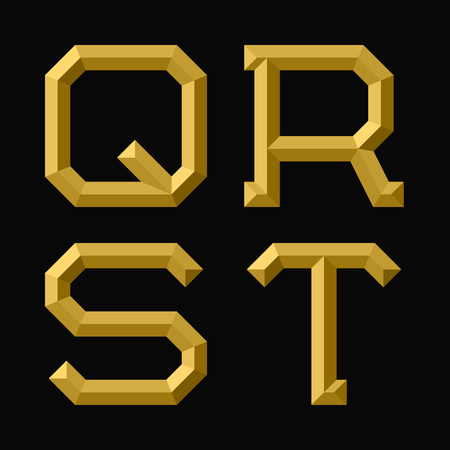 Q, R, S, T gold faceted letters. Trendy and stylish golden font.