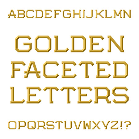 Golden faceted capital letters. Trendy and stylish font. Isolated latin alphabet. Ilustração