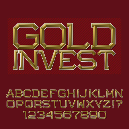 Golden faceted letters and numbers. Presentable business font. Isolated english alphabet with text Gold Invest. Ilustração