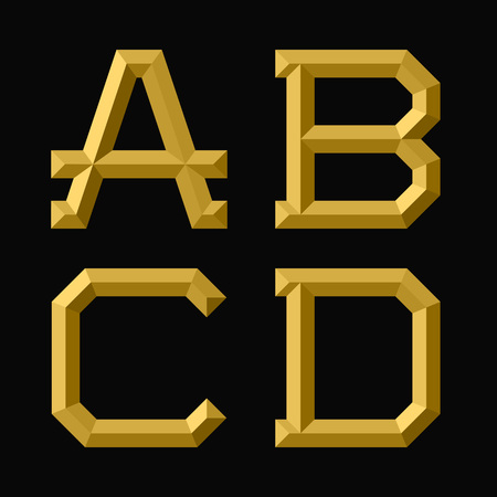 A, B, C, D gold faceted letters. Trendy and stylish golden font.