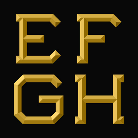 E, F, G, H gold faceted letters. Trendy and stylish golden font.