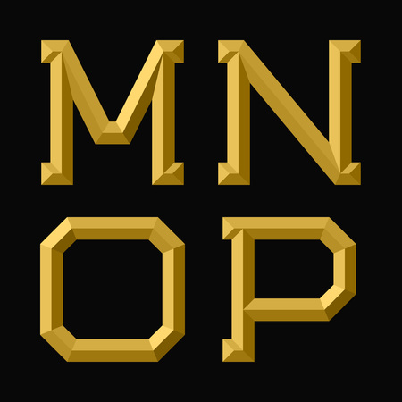 M, N, O, P gold faceted letters. Trendy and stylish golden font.