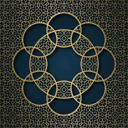 Traditional ornamental background with circular mandala form frame.