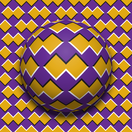 Patterned ball rolling along the same surface. Abstract vector optical illusion illustration. Motion background and tile of seamless wallpaper. Stock Illustratie