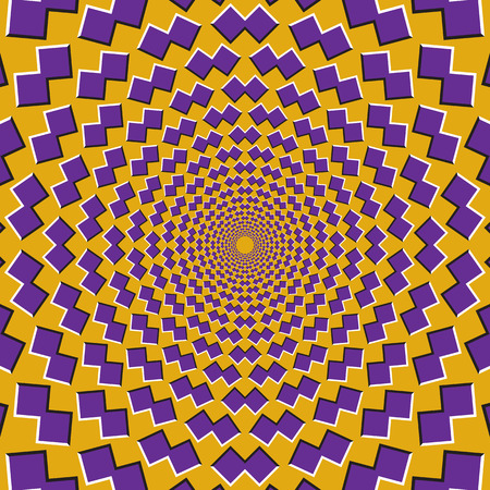 Optical motion illusion background. Purple shapes fly apart circularly from the center on yellow background.