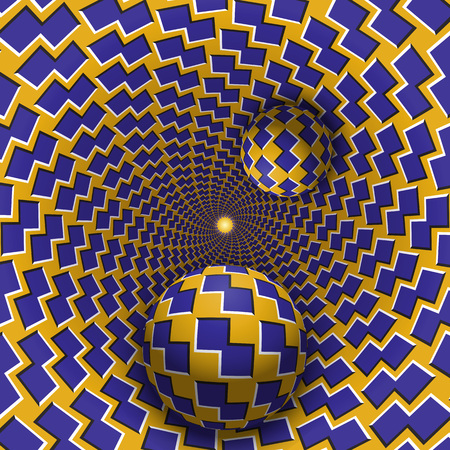 Optical illusion illustration. Two balls are moving in mottled hole. Blue shapes on yellow pattern objects. Abstract fantasy in a surreal style.