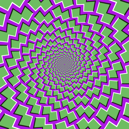 Optical motion illusion background. Green shapes fly apart circularly from the center on purple background. Stock Illustratie