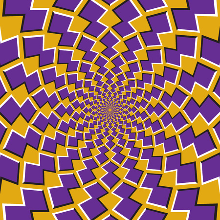 Optical motion illusion background. Purple shapes revolve around the center on yellow background. 版權商用圖片 - 97653682
