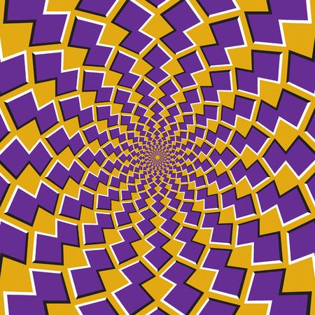 Tło złudzenie optyczne ruchu. Fioletowe kształty krążą wokół środka na żółtym tle.