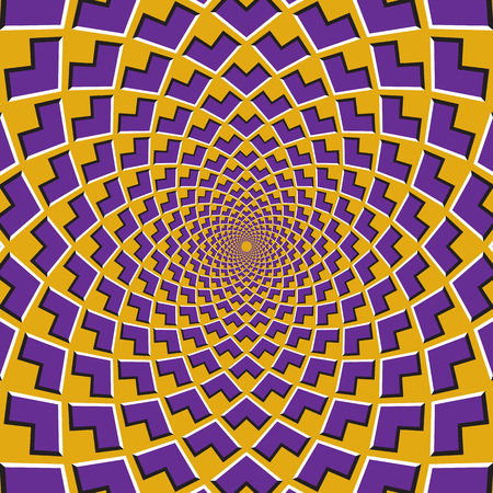 Optical motion illusion background. Purple corners flock together circularly to the center on yellow background.
