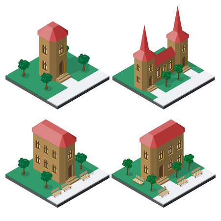 Set of isometric buildings with benches and trees. Stock Illustratie