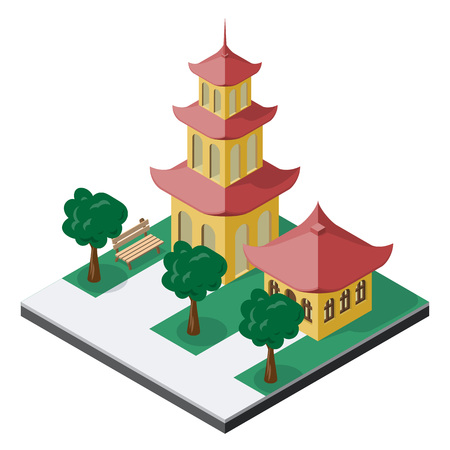 Chinese pagoda buildings with trees and bench in isometric view.