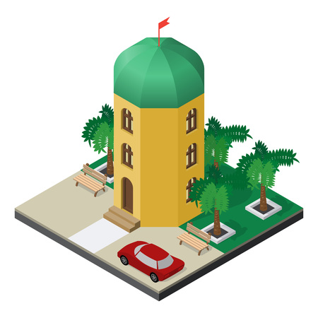Three-story tower building with palm trees, benches and car in isometric view.