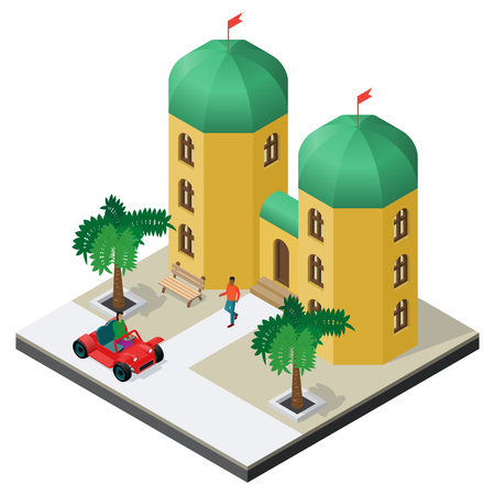 Arabian palace with car, bench, palm trees and people in isometric view.