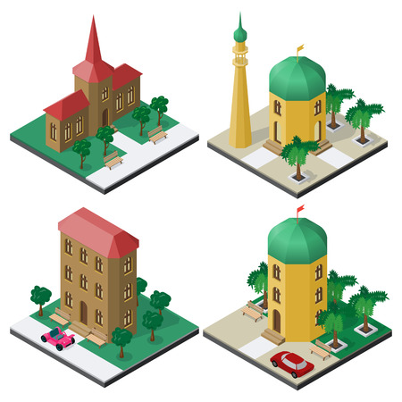 Isometric image set with public buildings, benches, trees and cars.