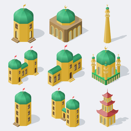 Isometric asian buildings set.