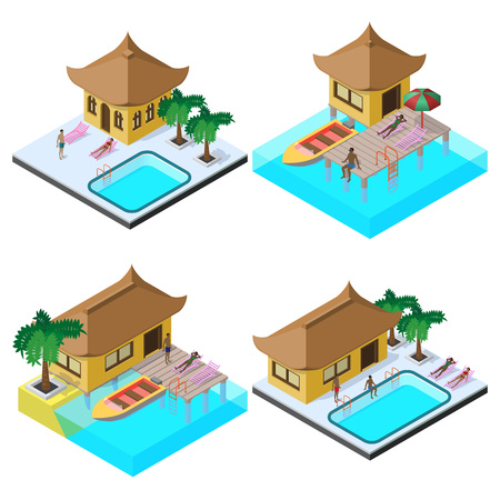 Isometric vector image set with bungalows, motorboats, swimming pools, sunbeds, umbrella, palm trees and people. Illustration