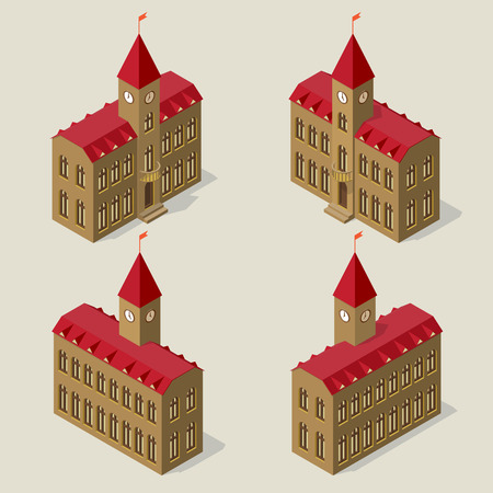 City hall building in isometric view on all four sides.
