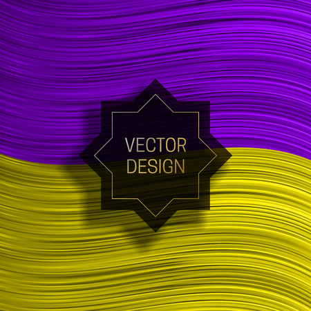 Eight-pointed frame on colorful dynamic background. Trendy packaging design or cover template.