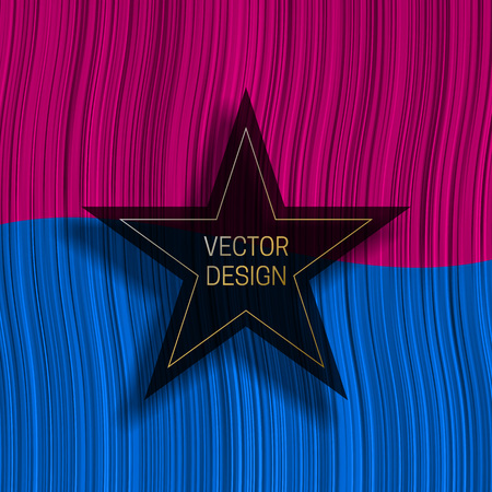 Five-pointed star frame on colorful dynamic background. Trendy packaging design or cover template.