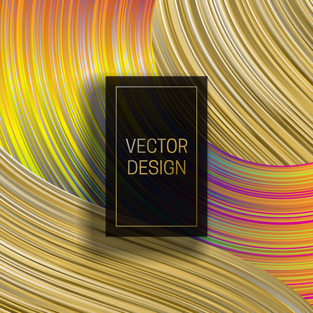 Rectangular frame on dynamic colorful background. Trendy holographic packaging design or cover template. Illustration