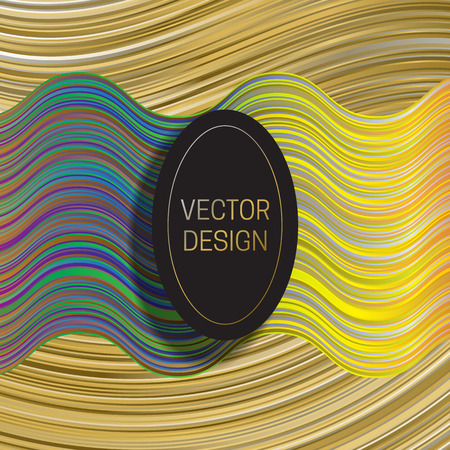 Elliptic frame on dynamic colorful background. Trendy holographic packaging design or cover template.