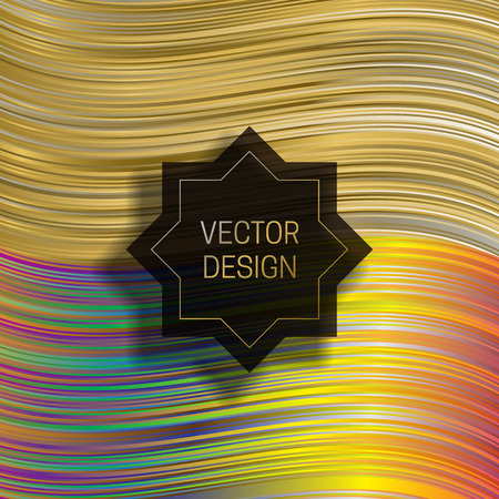 Eight-pointed frame on dynamic colorful background. Trendy holographic packaging design or cover template.