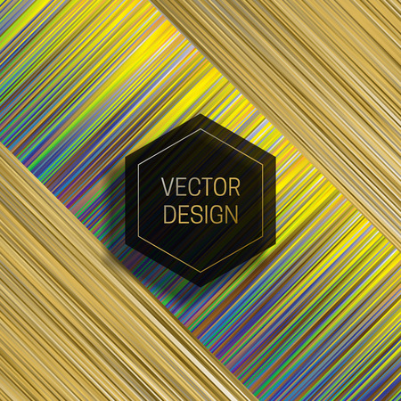 Hexagonal frame on dynamic colorful background. Trendy holographic packaging design or cover template.