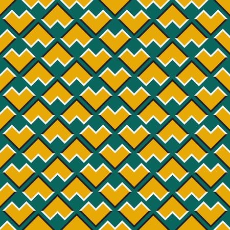 Optical illusion seamless pattern. Yellow corners move on green background.