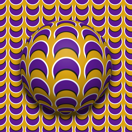 Patterned ball rolling along the same surface. Abstract vector optical illusion illustration. Motion background and tile of seamless wallpaper. Çizim