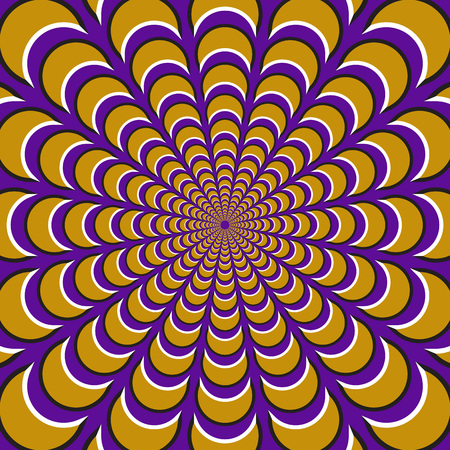Optical motion illusion background. Yellow crescents fly apart circularly from the center on purple background.
