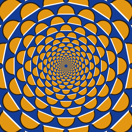 Optical motion illusion background. Orange crescents fly apart circularly from the center on blue background.